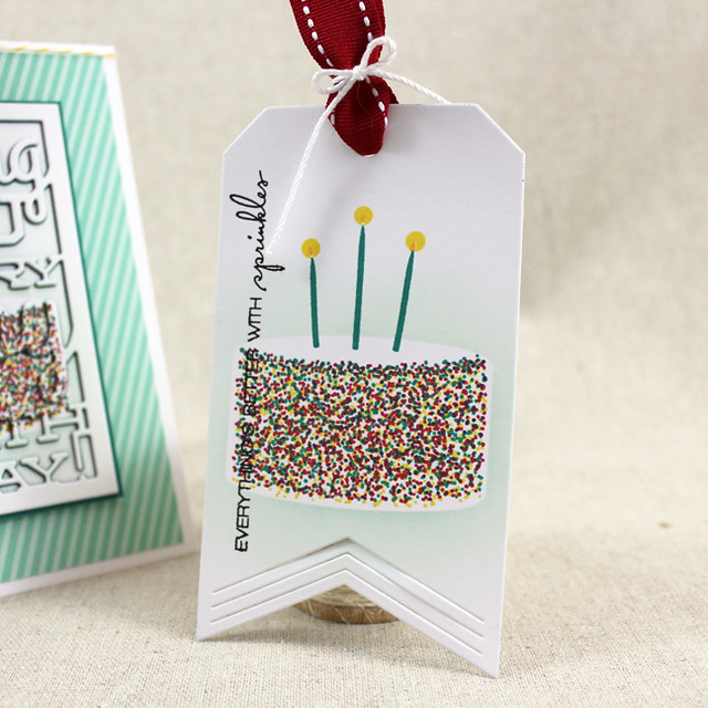 Rainbow Sprinkle Birthday Cake Tag