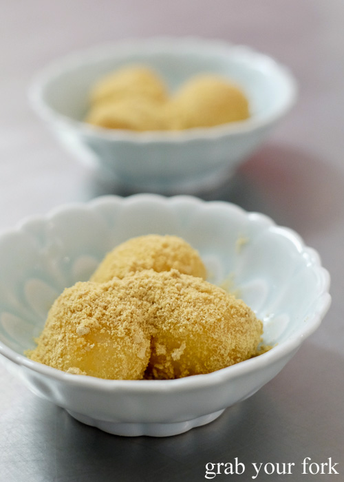 Fresh mochi rolled in kinako roasted soybean powder at Sashimi Shinsengumi, Crows Nest