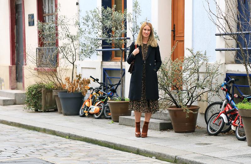 look hiver style bohème robe imprimé fleuri