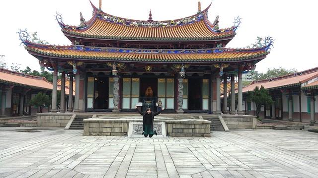 Takeshita jumping with Confucius