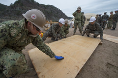 U.S. Navy and Republic of Korea Seabees work together during a project as part of exercise Foal Eagle. (U.S. Navy/MCC Lowell Whitman)