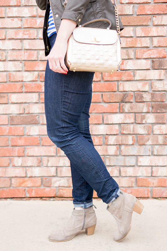 merona stripe tee + J.Crew field jacket + gold purse + ankle boots | Style On Target