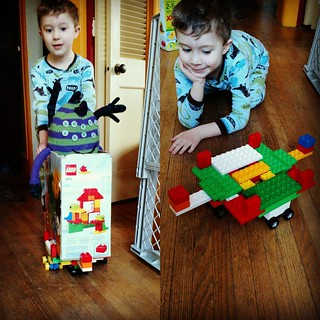 "KFP made a ""wheel base"" to give Toby Monster rides in the Duplo box. #LEGO  #futureengineer"