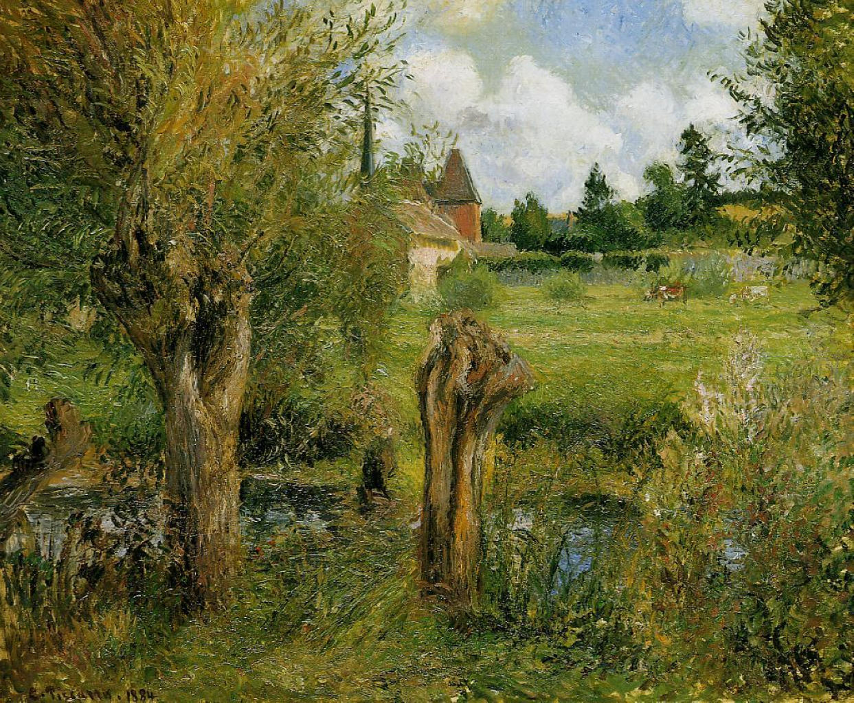 The Banks of the Epte at Eragny by Camille Pissarro, 1884