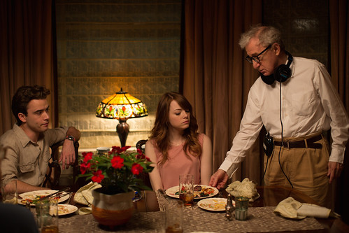 Irrational Man - backstage 2 - Woody Allen, Emma Stone, Jamie Blackley