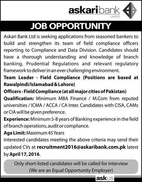 Askari Bank Limited Jobs 2016