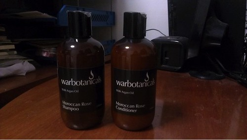 Warbotanicals Moroccan Rose Shampoo and Conditioner bottles