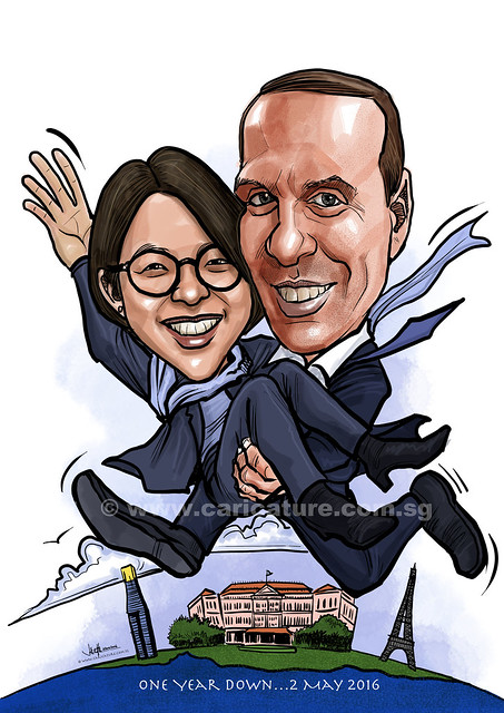 first year wedding anniversary digital couple caricatures (watermarked)
