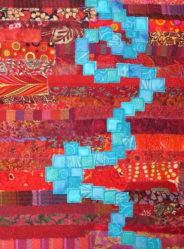 turquoise square river on red