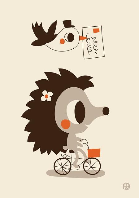Hetty Hedgehog poster A3 by BORA