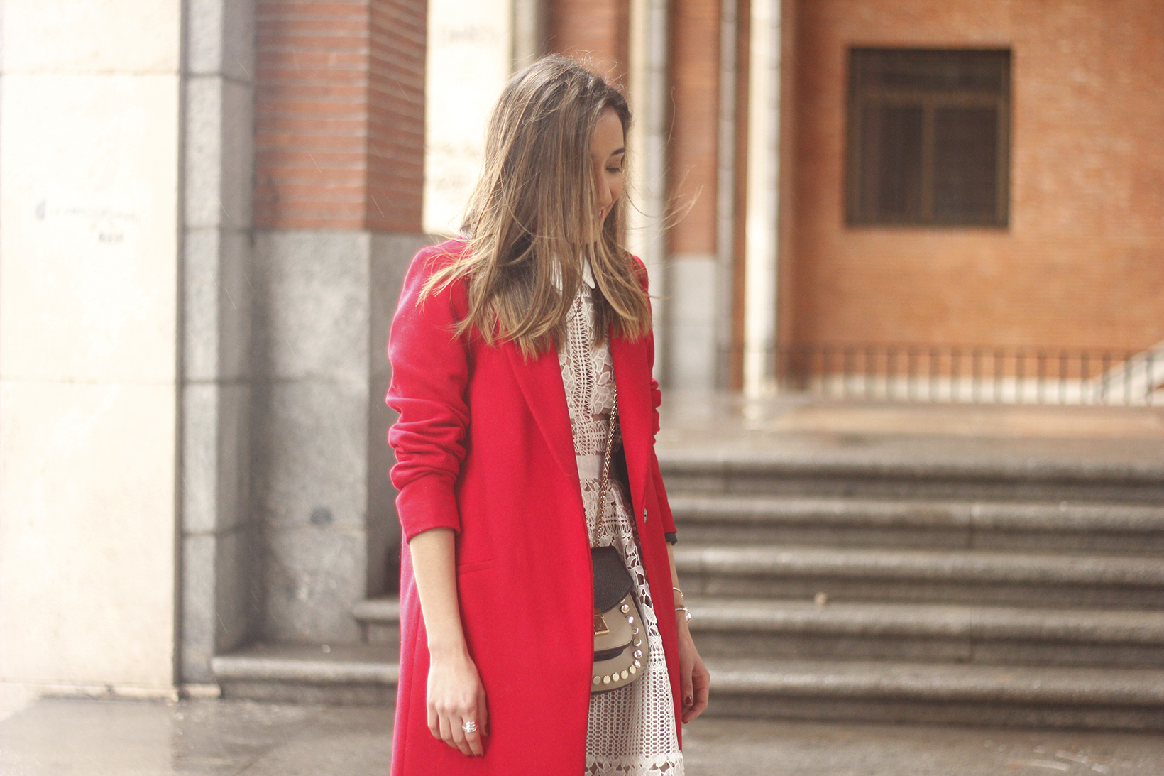 white lace dress with red coat uterqüe bag outfit style15