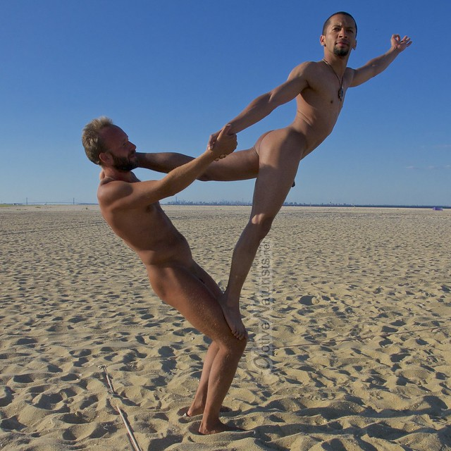 naturist acro-yoga 0004 Gunnison Beach, Sandy Hook, NJ, USA