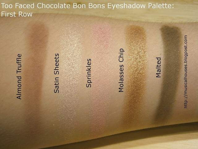 Too Faced Chocolate Bon Bons Eyeshadow Palette Swatches Row 1