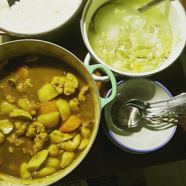 20160303 ✓蔬菜雞肉咖哩 ✓大白菜柴魚蛋花湯 ✓鍋煮白飯 #葛蘿的餐桌