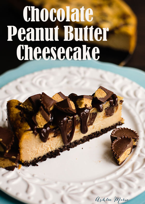 love peanut butter? this peanut butter cheesecake with a chocolate crust is amazing, mix in peanut butter cups and top with hot fudge and it goes from delicious to decadent