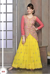 Yellow And Peach Georgette Anarkali Suit