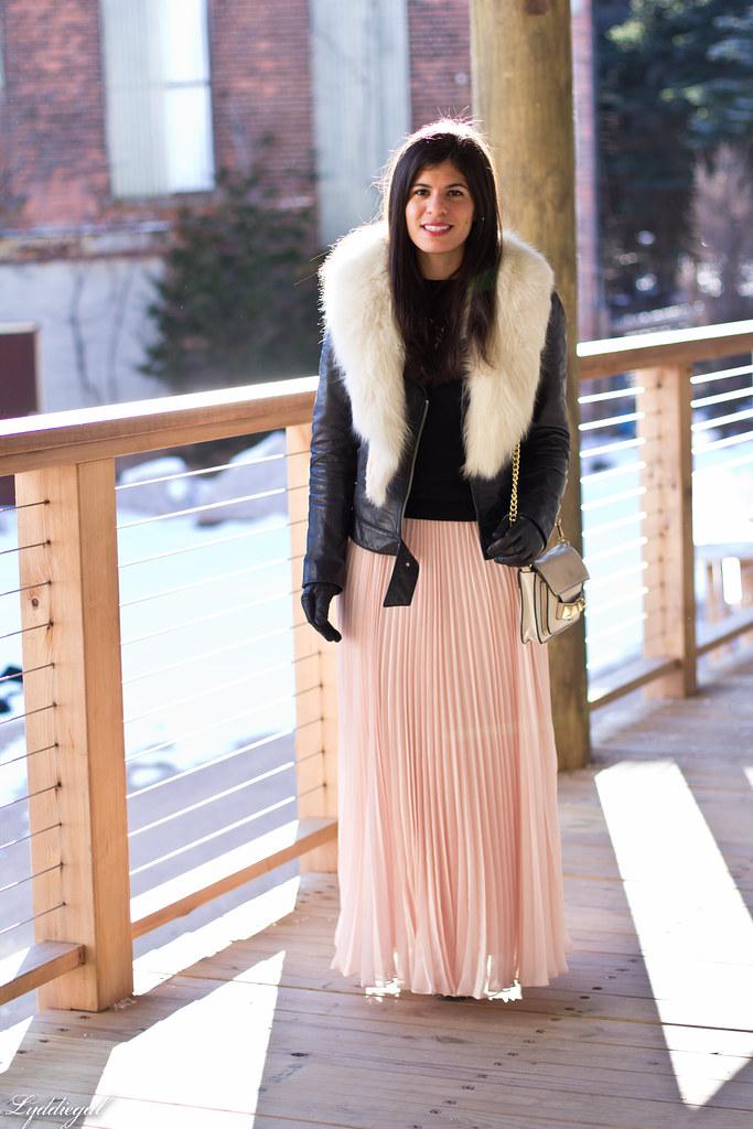 blush pleated maxi skirt, leather moto jacket, fur collar.jpg