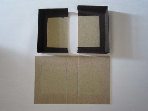 Clamshell box trays and case covered with bookcloth