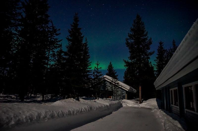 Aurora Borealis in moon light