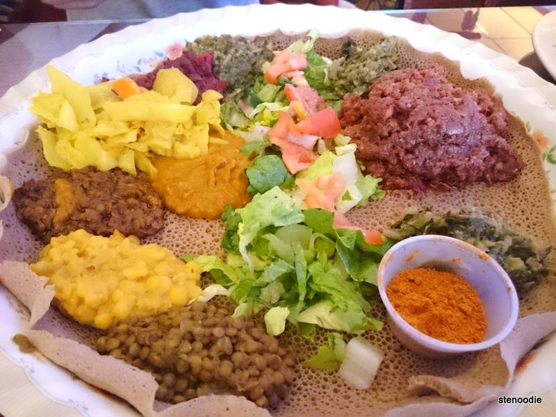 Vegetarian Platter & Special Lalibela Kitfo