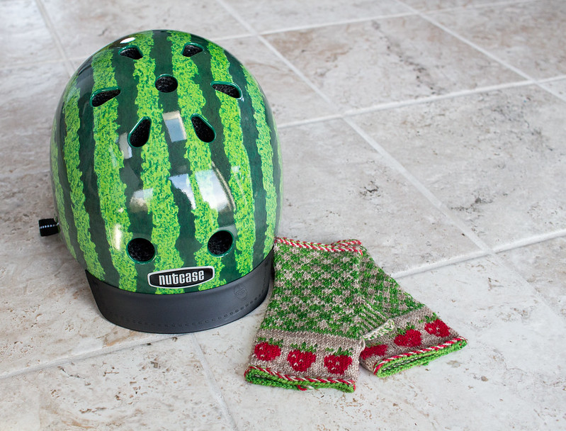 Watermelon helmet, Strawberry gloves
