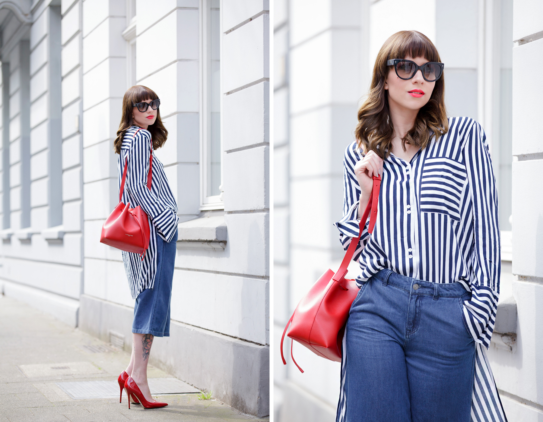 francaise chic striped outfit ootd look of the day lookbook love pretty parisienne outfit denim culottes vero moda edited striped shirt lancaster paris bucket bag prada mister spex sunglasses pumps cats & digs fashionblog ricarda schernus modeblog 8