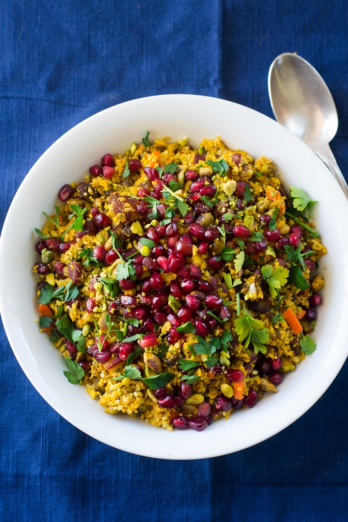 Jeweled Cauliflower Rice with Pomegranate and Pistachios