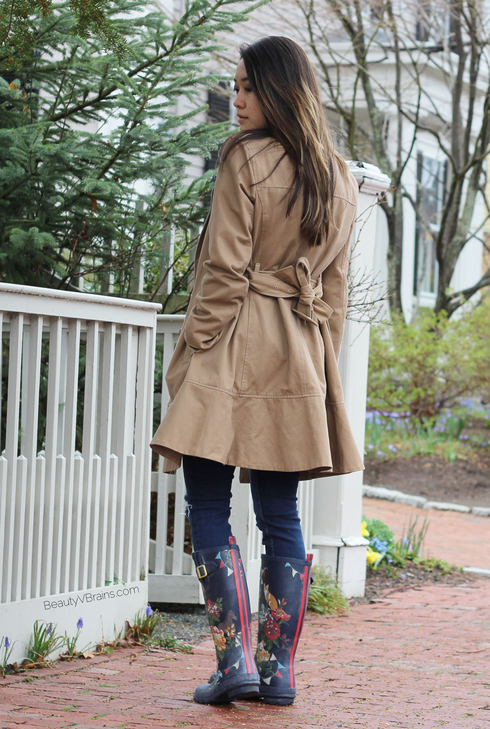 Flare hem trench coat and Joules navy floral wellies