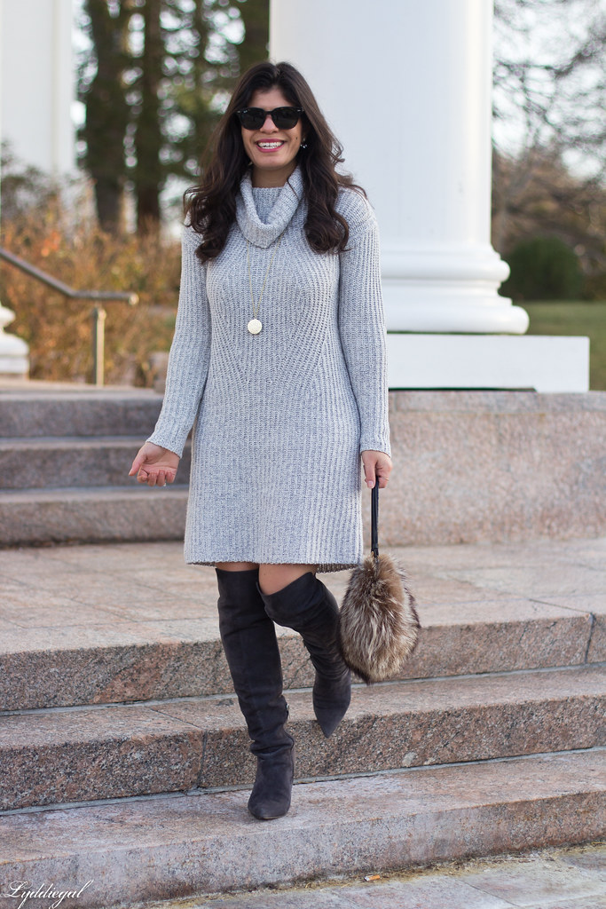 grey sweater dress, over the knee boots, fur bag-2.jpg