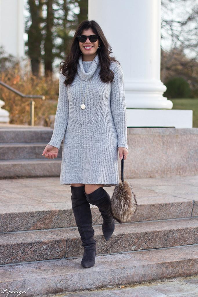grey sweater dress, over the knee boots, fur bag-2.jpg