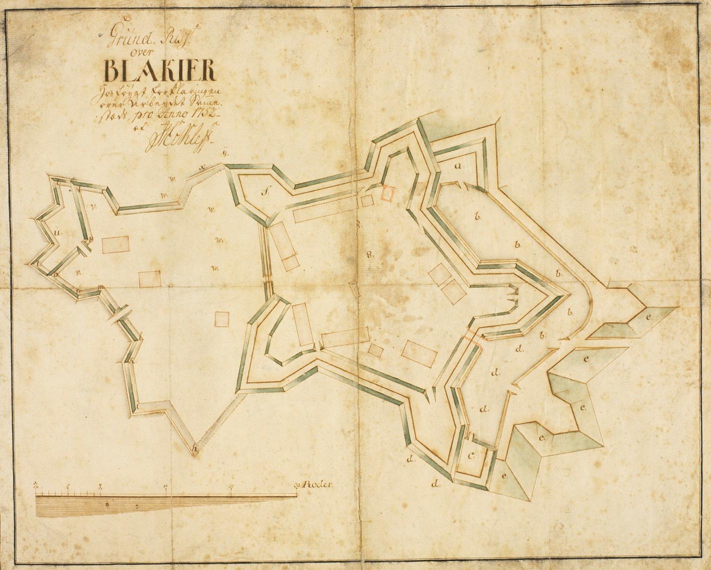 Håndtegnet kart over Blaker skanse