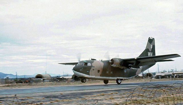 C-123K Provider landing - Photo by Robert Brackenhoff 1970-71