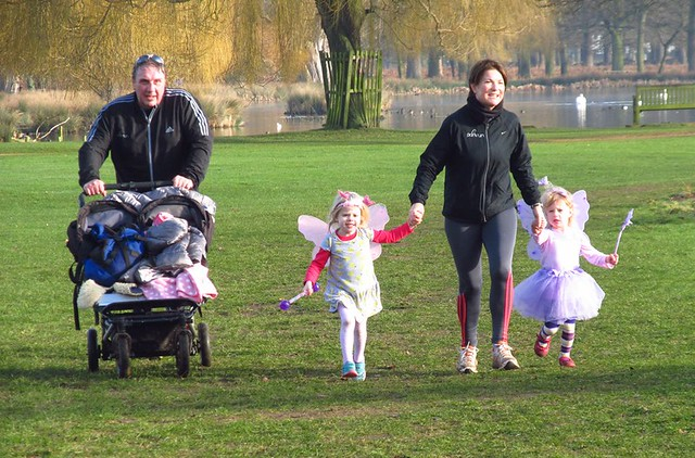 George and Suzie Longstaff at the finish with their fairy god-daughters!