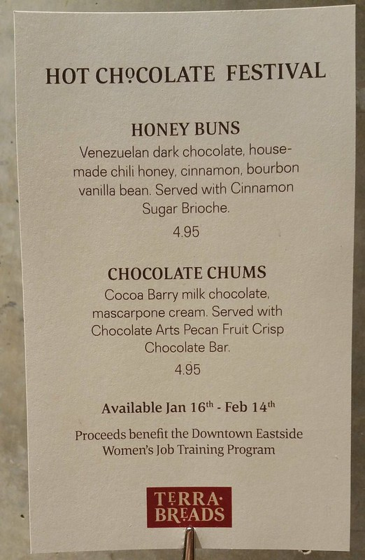 2016-Jan-28 Terra Breads (Olympic Village) - hot chocolate festival menu