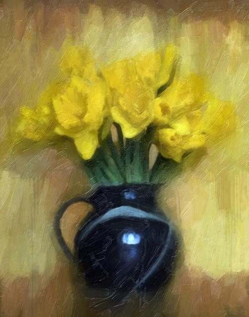 vintage daffs in a vase