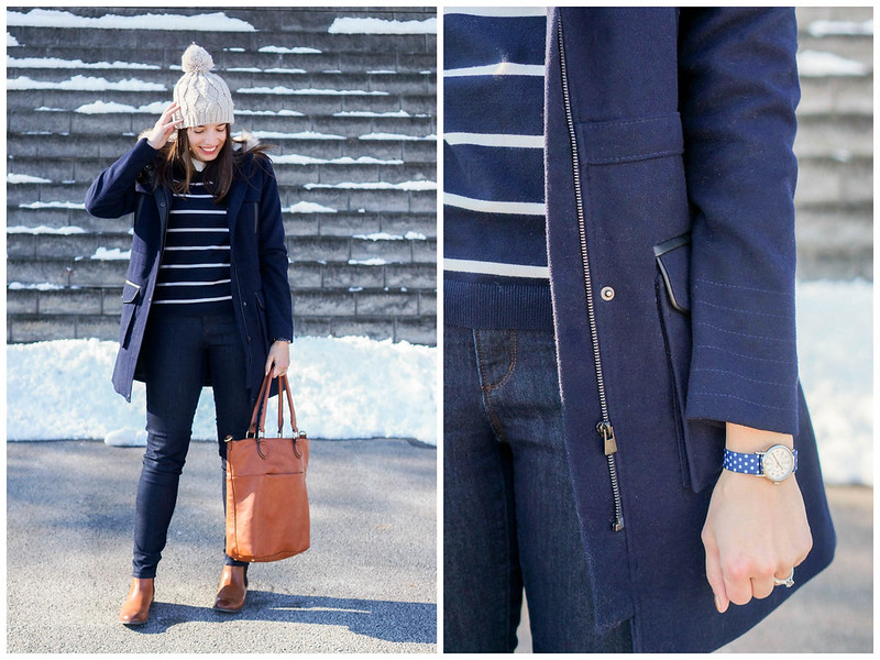 navy coat + navy and white stripe sweater + cognac boots and purse; winter casual outfit