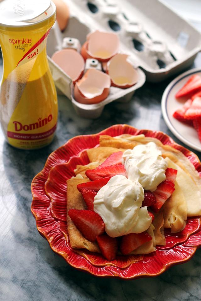 Buttermilk Crepes with Honey Mascarpone Greek Yogurt Cream