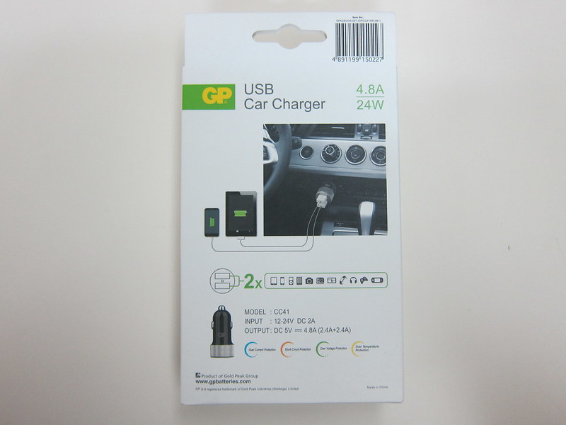 GP USB Car Charger - Box Back