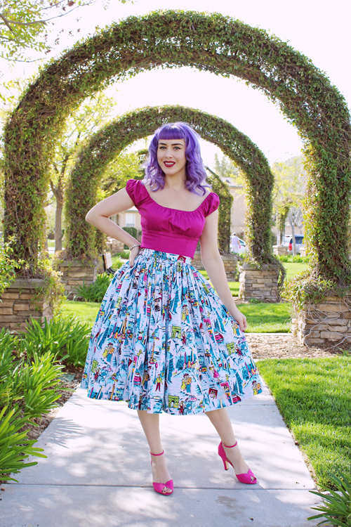 Pinup Girl Clothing Pinup Couture Peasant Top in Baton Rouge Pinup Couture Jenny Skirt in Novelty Paris Print