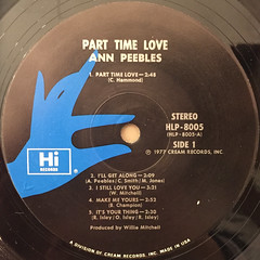 ANN PEEBLES:PART TIME LOVER(LABEL SIDE-A)