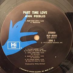 ANN PEEBLES:PART TIME LOVER(LABEL SIDE-A)