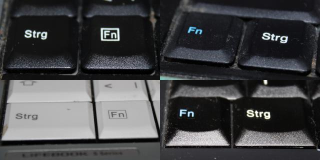 Unterschiedliche Tastenanordnungen: MSI, Medion, Fujitsu Siemens, Thinkpad (von links oben nach rechts unten)