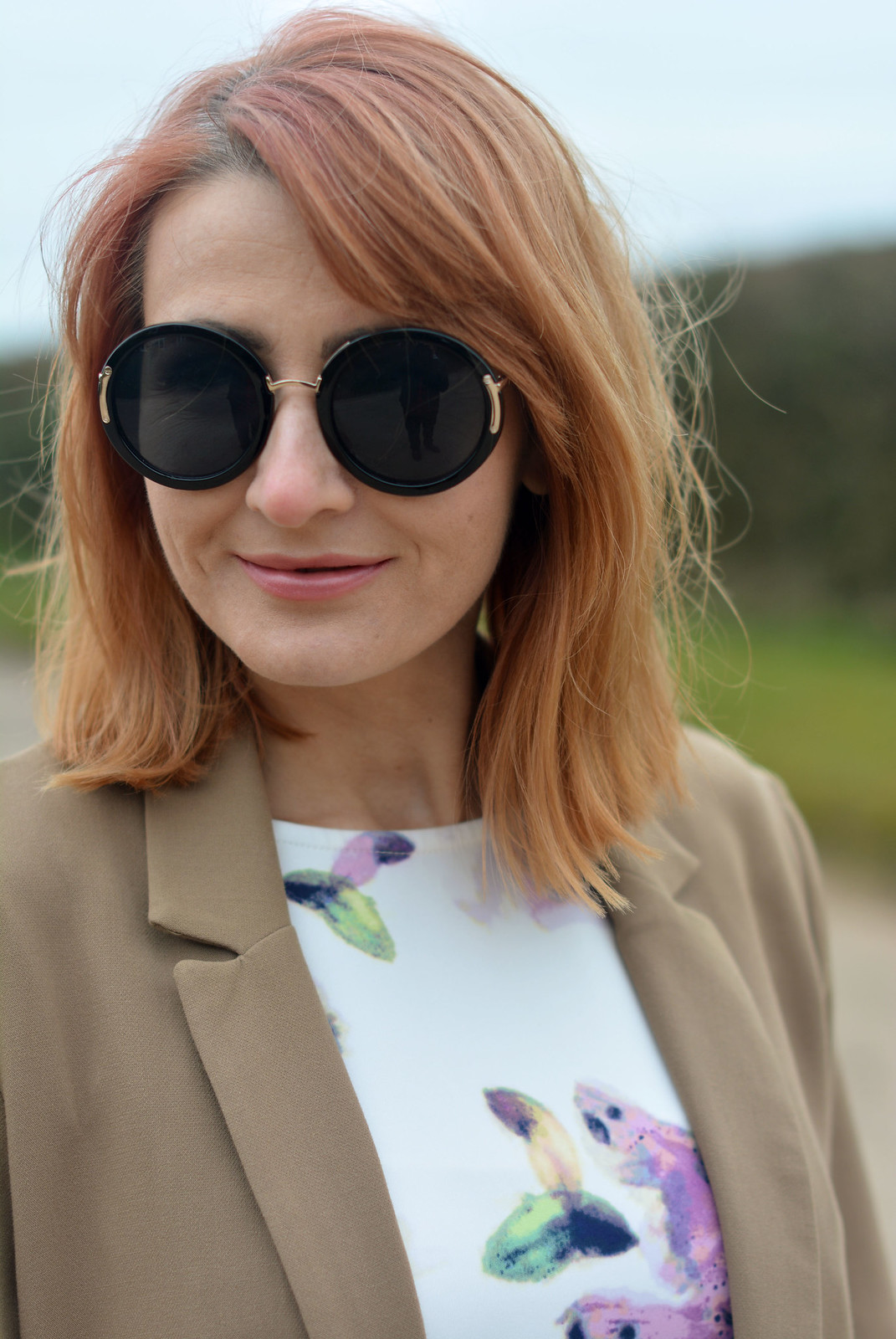 Soft florals, camel blazer, oversized round sunglasses | Not Dressed As Lamb