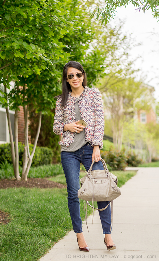 tweed jacket, gray tee, woven chain necklace, stacked rings, jeans, burgundy pumps