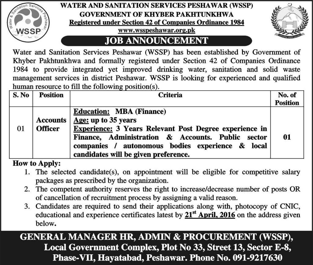 Water And Sanitation Services Peshawar Jobs 2016