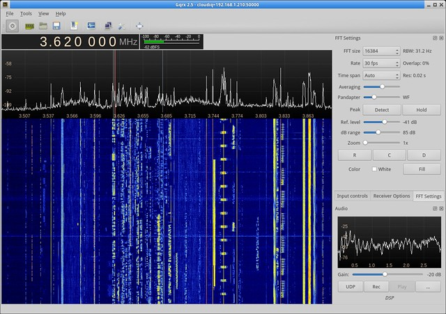 Listening on 80 meters with Cloud-IQ and gqrx