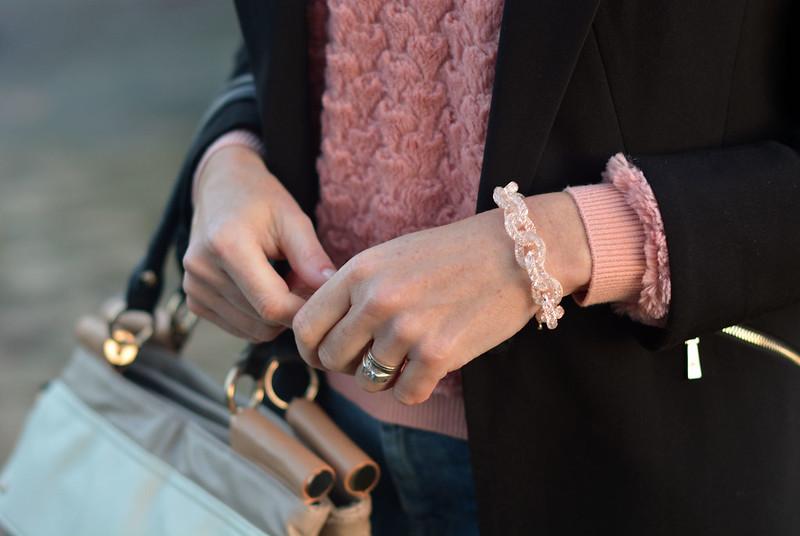 Black blazer, sparkly link bracelet