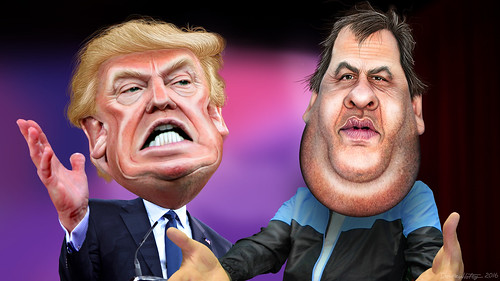 Chris Christie endorses Donald Trump - Caricatures