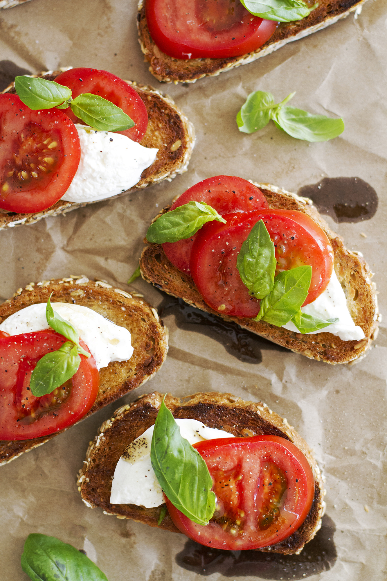 Open Faced Caprese Sandwiches with Brown Butter and Burrata | girlversusdough.com @girlversusdough