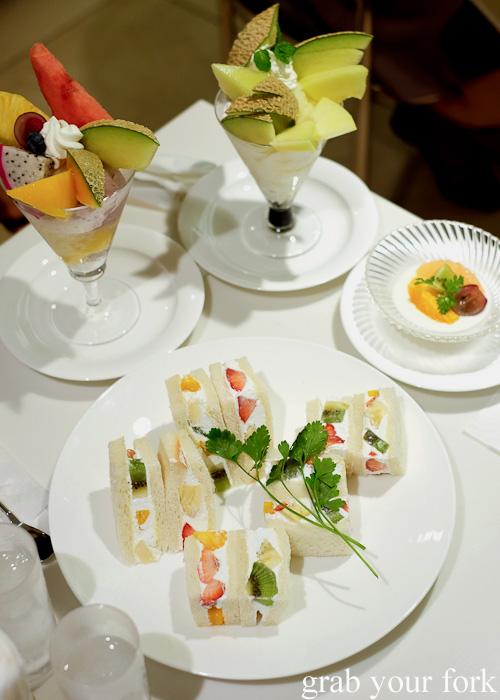 Fruit sandwiches and fruit parfaits at Takano Fruit Parlour, Shinjuku, Tokyo